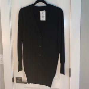 NWT Debut black vneck cardigan sweater size L